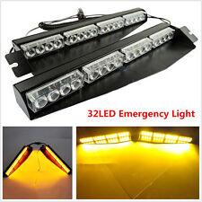 2x 16LED 32W Car Truck Visor Emergency Warning Flash Split Mount Deck Dash Light
