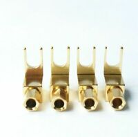 4pcs Hi-Fi Gold Plated Spade Fork Banana Plug For Mcintosh Fisher Eico Adapter
