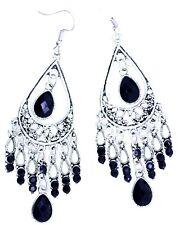 Vintage style silver and black drop chandelier earrings