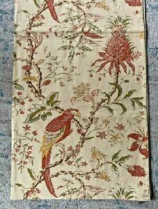 """Pottery Barn Floral Birds Pineapple Table Runner Linen Blend 90x18"""""""