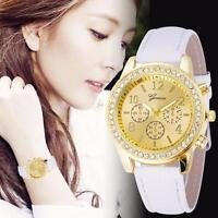 Chronograph Leder Quartz Armbanduhren Classic Rund Uhr Analog Damen Crystals Uhr