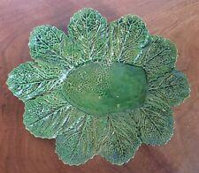 Vintage Portuguese Majolica Pottery Cabbage Lettuce Leaf Plate Dish Platter 1