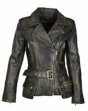 Women Cafe Racer Moto Biker Distressed Brando Black Vintage Real Leather Jacket