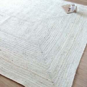 Rug 100% Natural Jute Braided Style White Carpet Modern Rustic Look Area Rug