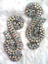 ACT/XR130/A Black Backing Aurora Borealis Rhinestone Appliques Mirror Pair