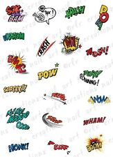 20 COLORFUL COMIC BOOK EXPRESSIONS WATER SLIDE NAIL ART DECALS- VINTAGE