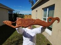 "30"" LONG  HANDCARVED TEAK WOOD ""MERMAID"" WALL DECOR POINTING TO THE LEFT!!!"