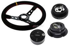 "NRG 350 3"" D Steering Wheel Suede Yellow 170H Hub Gen2.5 Black Release Lock LB b"