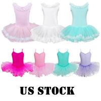 Children Girls Ballet Leotard Tutu Dance Dress Ballerina Fairy Dancewear Costume
