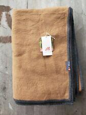 David Fussenegger Cotton Reversible Throw - Mocha and Charcoal Gray - New