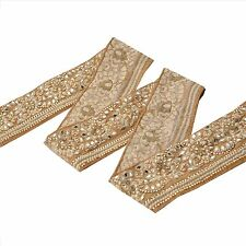 Hand Beaded Bridal Dress Border 1 YD Trim Beige Craft Lace COLLECTIBLE EDH