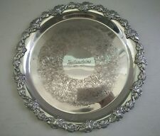 Vintage silver plated round tray Hecworth  31 cm across engraving