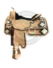 Western Pleasure Cowhide Genuine Leather Silver Show Horse Saddle Size 14 to 18
