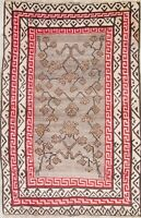 Wool Hand-Knotted Floral One-of-a-Kind Oriental Area Rug 4x6