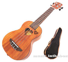 "Sweet 21"" Mahogany with heart hole & heart carved Soprano Ukulele + Carryin"