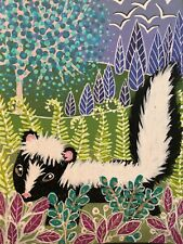 Original Painting ACEO Art Card 2.5 x 3.5 Signed Skunk Moon Trees Nature