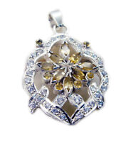 fine Citrine 925 Sterling Silver Yellow Pendant genuine suppiler US gift