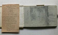 Skizzenbuch um 1900 mit 6 Zeichnungen - der größter Teil des Buches unbenutzt