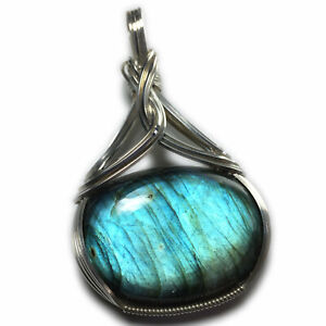 Labradorite Necklace Pendant Silver - Wire Wrapped Jewelry S10