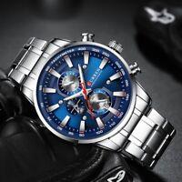 CURREN Watches Mens Stainless Steel Band Quartz Wristwatch Chronograph Calendar