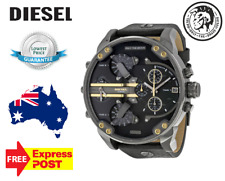 Diesel Mens Watch Mr.Daddy 2.0 Gunmetal Gold Black Dial Leather Strap DZ7348