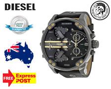 Diesel Mens Watch Mr.Daddy 2.0 Gunmetal Gold Black Dial Leather Strap DZ7348