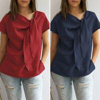Plus Size Women Front Tie Shirt Short Sleeve Party Beach Blouse Ladies Top Tee