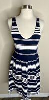 J. Crew Women's Navy Blue White Striped Sundress dress S Euc