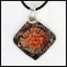 Fashion Women's square lampwork Murano art glass beaded pendant necklace #M279