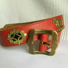 "Vintage Swiss Apenzellar Red Leather 3cm Belt Brass Children Boy 22"" - 26.5"""