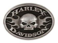 Harley-Davidson Men's Roaring Flames Belt Buckle, Gunmetal Finish HDMBU11701