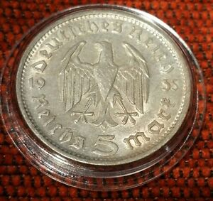 Germany Nazi 5 Reichsmark 1935 F .900 Silver Coin Prot Caps 466