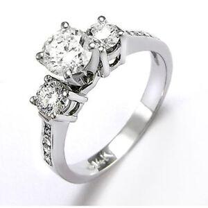 Diamond & Topaz Engagement Ring 18k Solid White Gold #R1127