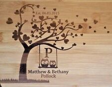Personalized Bamboo Cutting Board Owls in love hearts Wedding Anniversary 13 3/4
