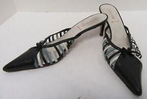 MIU MIU Blue/Black Leather Low Heeled Slides Size 40