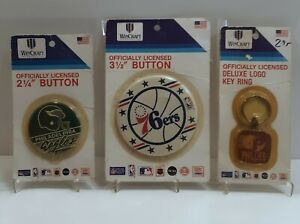 Lot of 3 Philadelphia(1) Eagles,(1)76ers, &(1)Phillies Vintage Buttons&Key Ring!