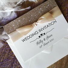 Wedding or Evening Invitations Personalised glitter RSVP info FREE envelopes