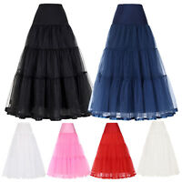 Retro Long Tulle Petticoat Crinoline Underskirt Skirt Bridal Wedding Tutu Dress