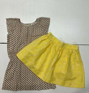 BONPOINT Girls Summer Dress & Yellow Daisy Skirt Size 6