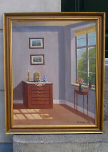 S.A. Morell. Danish manor house interior. Ca 1930s.  Large painting.