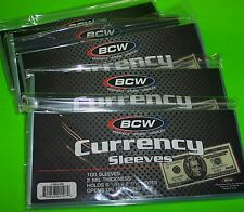 500 BCW CURRENCY SOFT POLY SLEEVES, 2 MIL THICK, FOR U.S. & OTHER CURRENCY