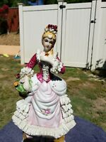Large Capodimonte Dresden style Porcelain Figurine Lady Victorian Colonial era