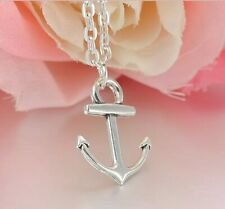 Boat Anchor Charm Necklace Nautical Silver Tone Chain Link Women's Girls Gift S