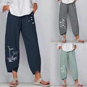 Women's Cotton Linen Pants Elastic Waist Trousers Baggy Loose Casual Plus Size
