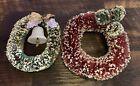 Vintage Bottle Brush Wreath Flocked Christmas Set Of 2