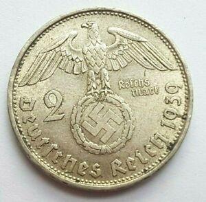 1939 B Germany 2 Mark Nazi Silver  XF Coin, RARE Year/Mint