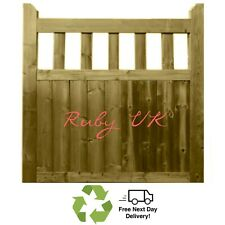 Treated Handmade wooden cottage style flat top garden gate Side Gate Picket Gate