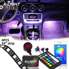 BLUETOOTH RGBW LED TUBES INTERIOR UNDERDASH FOOTWELL LIGHTING KIT W/REMOTE+ APP