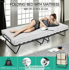 9.5cm Thick Mattress Portable Folding Camping Bed with Stripe 2 Wheels with Lock