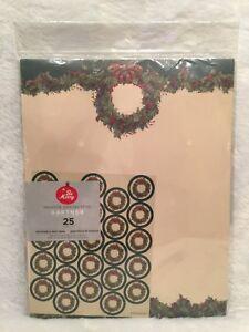 Gartner Studios Holiday Celebration Theme 50 Count Stationery Seals Wreath Holly